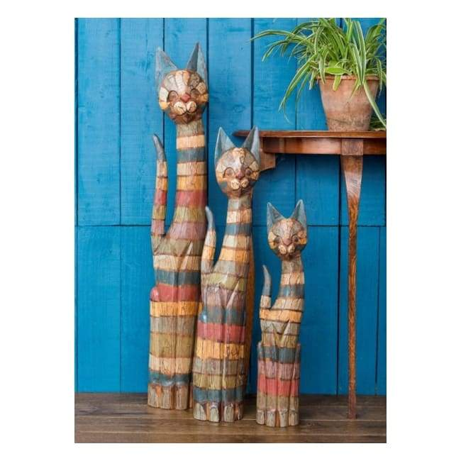 Hand-painted Fair-trade Striped Wooden Cats in three sizes (Large, medium and small)
