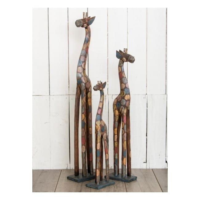 Hand-painted Fairtrade Spotted Rainbow Wooden Giraffe - Large (100cm)