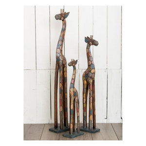Hand-painted Fairtrade Spotted Rainbow Wooden Giraffe - Large (80cm)