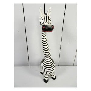 Hand-painted Fairtrade Standing Wooden Zebra - Small