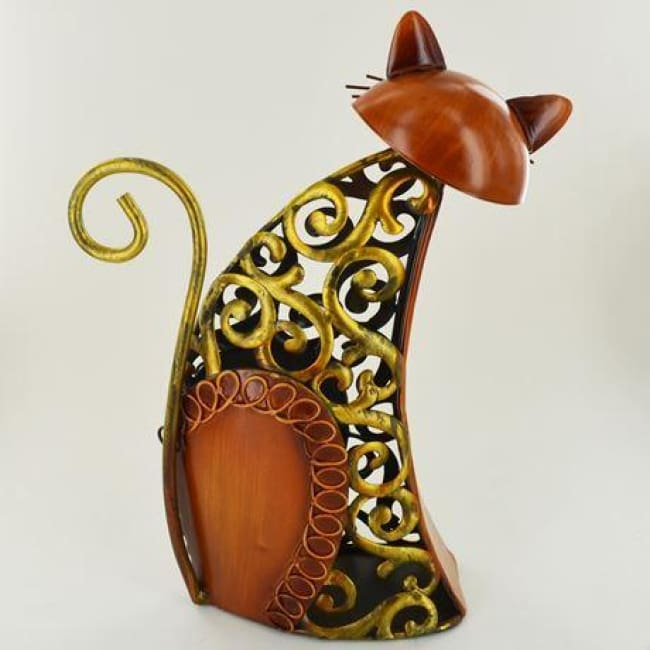 Hand Painted Metal Cat Sitting - Orange & Gold