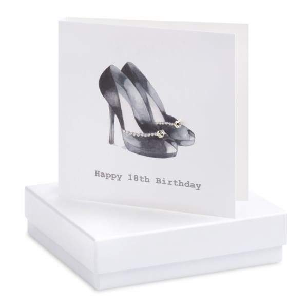 Happy 18th Birthday Silver Cubic Zirconia Stud Earrings On Designer Card