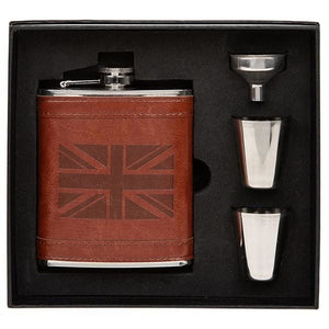 Hip Flask and 2 cups set - Tan Brown Union Jack