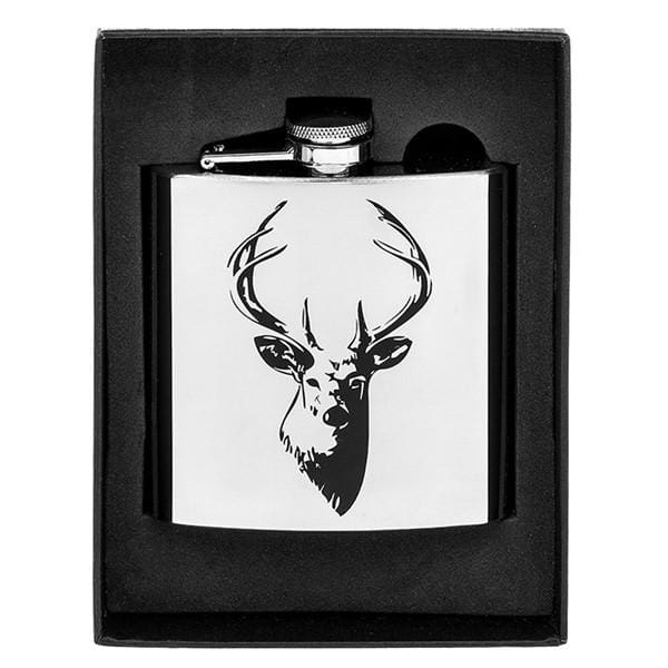 Hip Flask with Stags Head Design 6oz
