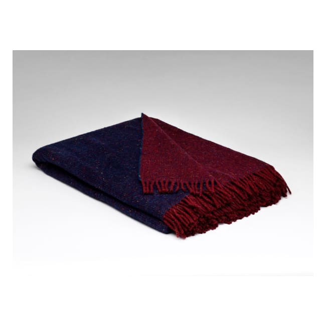 Ink & Claret Reversible - Pure Wool Throw by McNutt