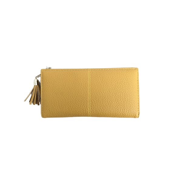 Large Faux Leather Purse in Mustard by Peace of Mind