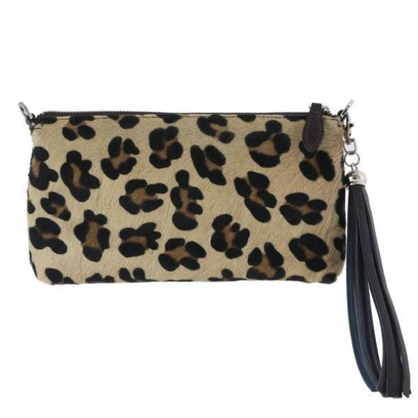 Leopard/Ocelot Print Italian Leather Clutch Bag by Fioriblu