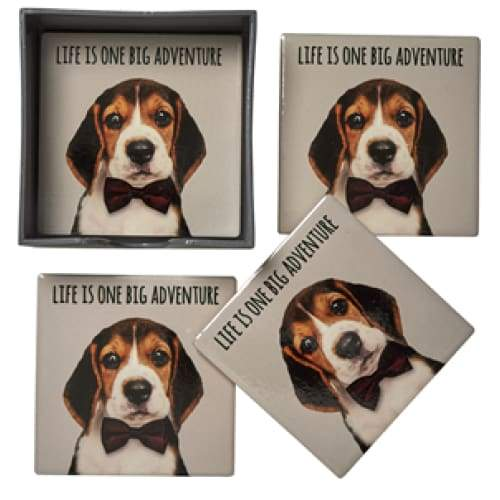Life Adventure Beagle Coasters - Set Of 4 Ceramic