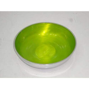Lime Green Enamelled Silvery Aluminium Fruit Bowl