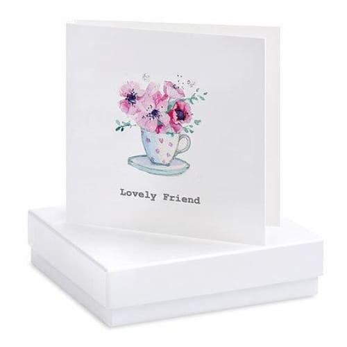 Lovely Friend Tea Cup Silver Earrings On Designer Card by Crumble and Core