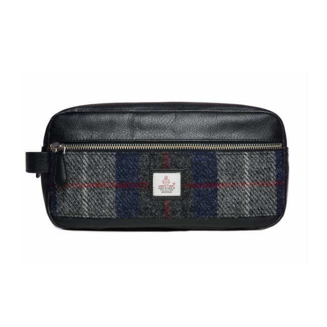 Men's Wash Bag - Blue Check Harris Tweed