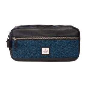 Men's Wash Bag - Blue Harris Tweed