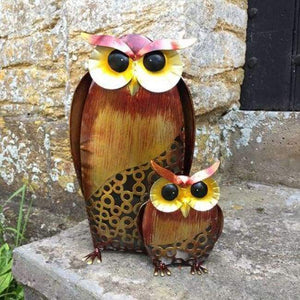 Metal Owls Mother & Baby