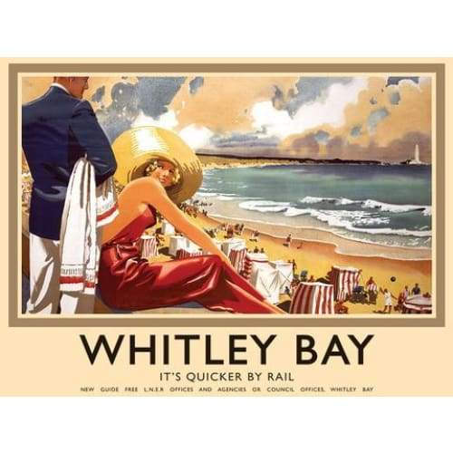 Metal Sign It's Quicker by Rail Whitley Bay Small Metal Sign