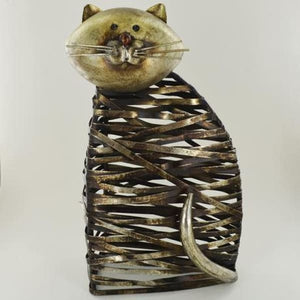 Metal Twisted Sitting Cat