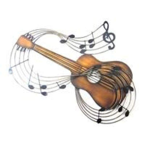 Acoustic Guitar & Notes Metal Wall Art - Home Decor - Wall Art