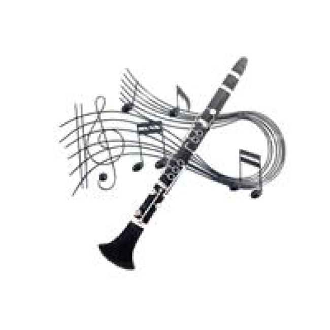 Clarinet Swirl Metal Wall Art - Home Decor - Wall Art