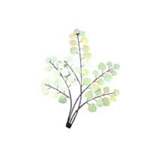 Metal Wall Art - Leaf Branch Light Green & Gold