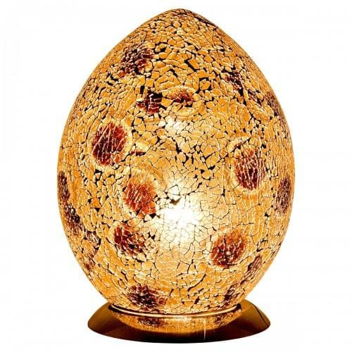Mosaic Gold & Amber Glass Egg Lamp