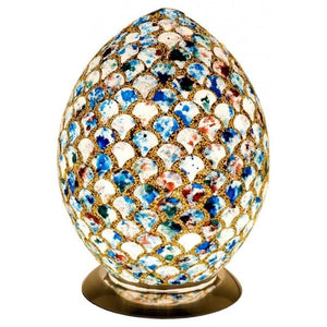 Mosaic Marbled Blue Glass Egg Lamp