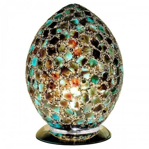 Mosaic Marbled Dark Green Egg Lamp
