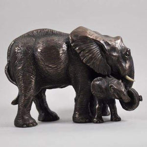 Mother and Baby Elephant in Cold Cast Bronze