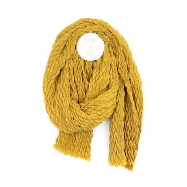 Mustard soft scarf with zig-zag pleated texture by Peace of Mind