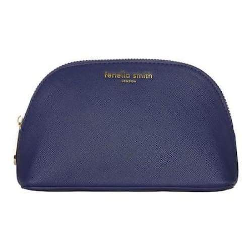 Navy Blue Vegan Leather Oyster Cosmetic Case - Beauty - Wash Bag