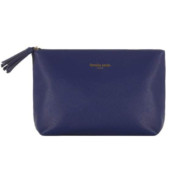 Navy Blue Vegan Leather Wash Bag