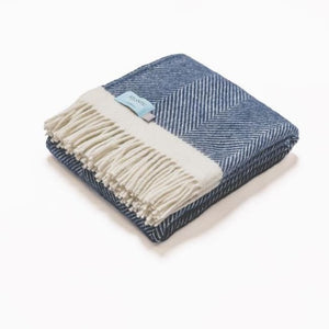 Navy Herringbone 100% Wool Blanket/Throw - 150 x 130cm