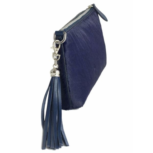 Navy Italian Leather Furry Clutch Bag by Fioriblu