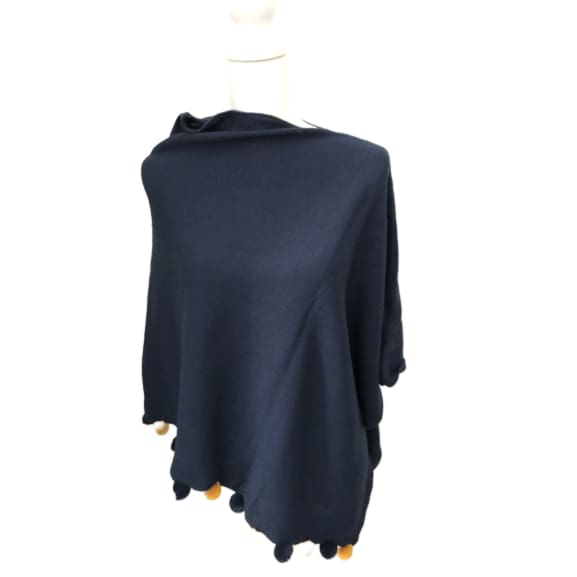 Navy Poncho with pom-poms by Peace of Mind