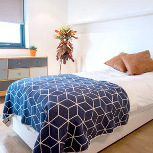 Navy Reversible Cotton Blanket With Geometric Pattern - 160cm x 100cm - Home - Blanket