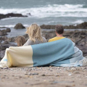Noon Tides Blue & Grey 100% Wool Blanket/Throw - 200 x 130cm