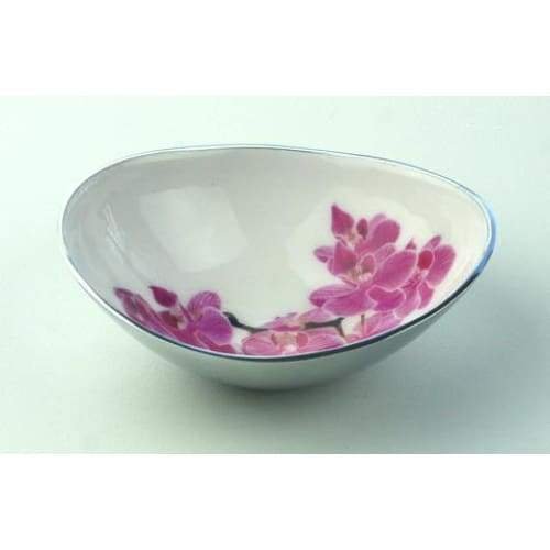 Orchid Design Enamelled Oval Large Aluminium Bowl