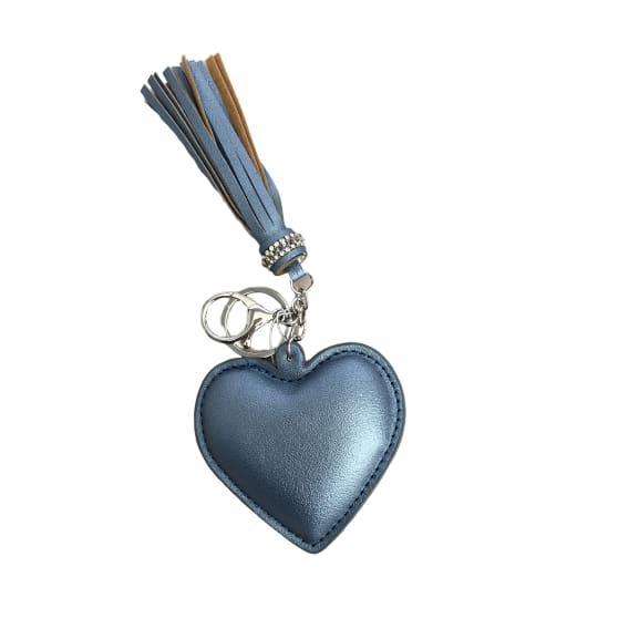 Padded heart keyring blue