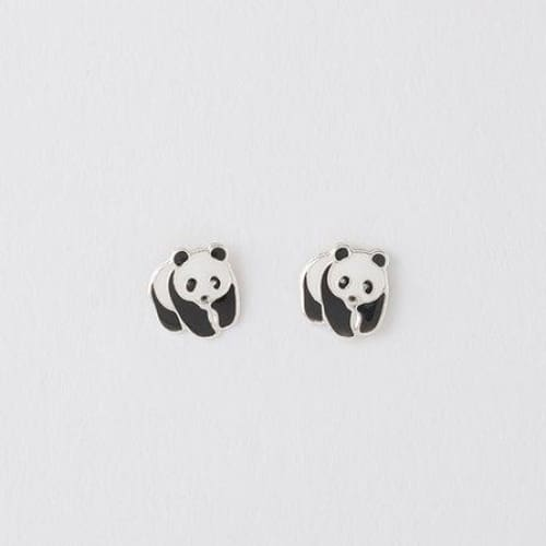 Panda Silver Earrings On Designer Card by Crumble and Core