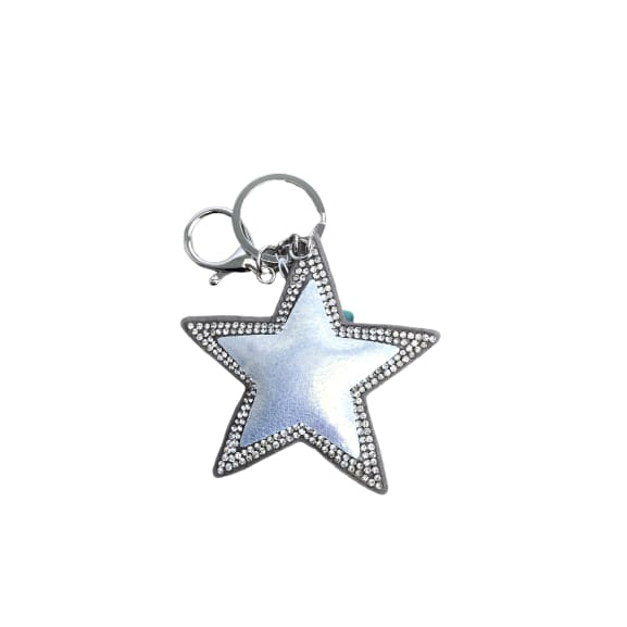 Pearlised Silver star keyring with crystals by Peace of Mind