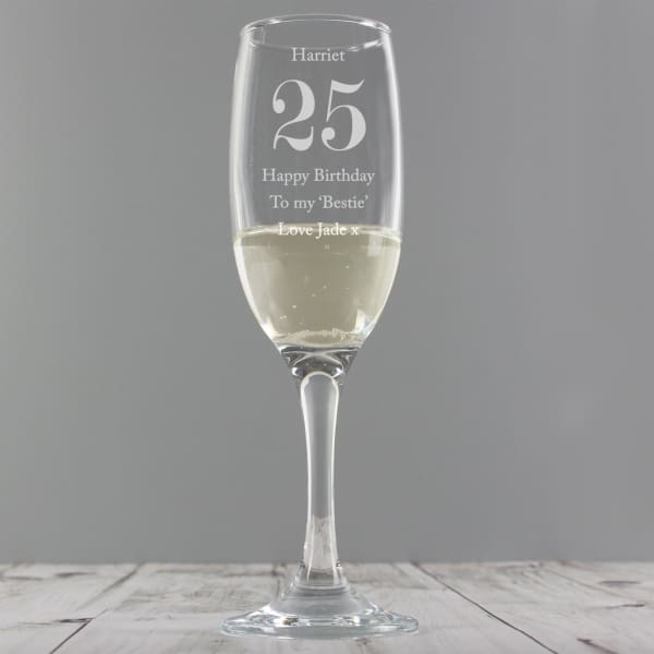 Personalised Birthday Big Age Flute - Gift - Glass