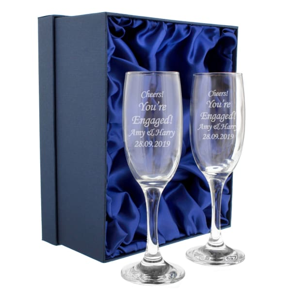 Personalised Celebration Pair of Flutes with Gift Box - Gift - Personalised