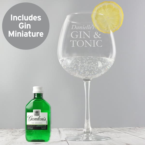 Personalised Gin & Tonic Balloon Glass with Gin Miniature Set - Gift - Glass