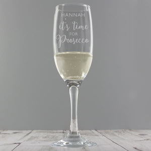 Personalised Its Time for Prosecco Flute - Gift - Glass