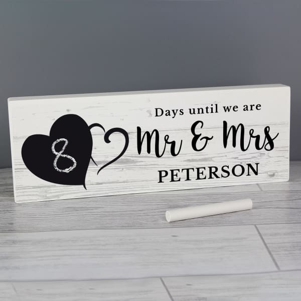 Personalised Rustic Chalk Countdown Wooden Block Sign - Wedding - Other