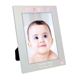 Personalised Silver 5x7 Baby Girl Photo Frame - Gift - Personalised