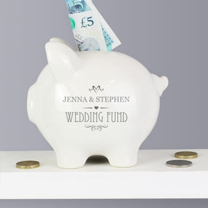 Personalised Small Hearts Piggy Bank - Wedding - Other
