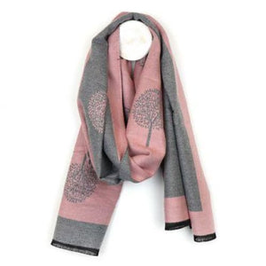 Pink and Grey reversible jacquard tree scarf by Peace of Mind
