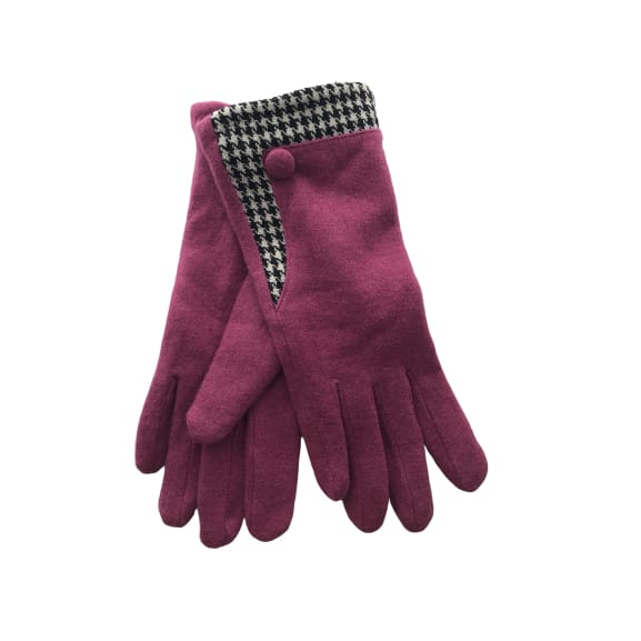 Pink Glove with houndstooth trim by Peace of Mind