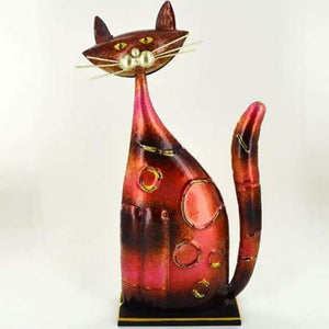 Pink & Orange Metal Cat - Hand Crafted & Painted - Home Decor - Metal
