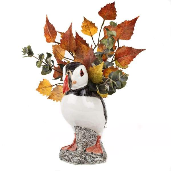 Puffin Ceramic Flower Vase By Quail Ceramics
