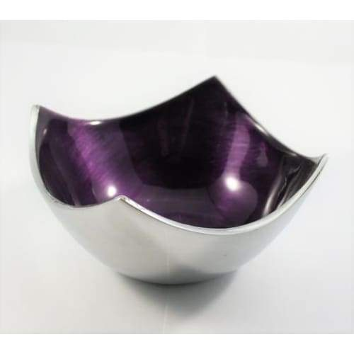 Purple Enameled Square Bowl On Polished Silver Aluminium